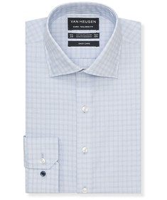 Euro Tailored Fit Shirt Blue Tonal Check