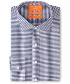 Euro Tailored Fit Shirt Indigo Gingham Checks
