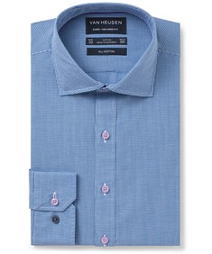 Euro Tailored Fit Shirt Blue Mini Check