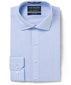 Euro Tailored Fit Shirt Blue Grid Check