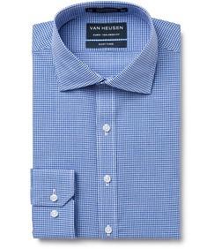 Euro Tailored Fit Shirt Blue Mini Checks