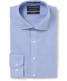 Euro Tailored Fit Shirt Blue Tones Check