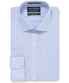 Euro Tailored Fit Shirt Blue Small Window Checks