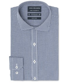 Euro Tailored Fit Shirt Deep Navy Gingham