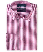 Euro Tailored Fit Shirt Tomato Red Gingham
