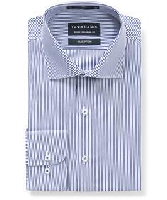 Euro Tailored Fit Shirt Cobalt Bengal Stripe