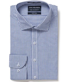 Euro Tailored Fit Shirt Navy Small Window Check