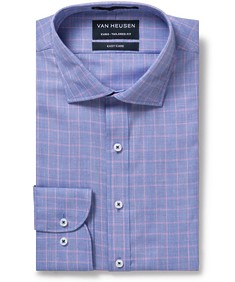 Men's Euro Fit Shirt Purple Self Glen Check