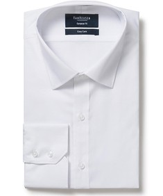 Men's Euro Fit Shirt White Herringbone