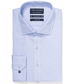 Euro Tailored Fit Shirt Blue Dobby Check