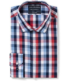Euro Tailored Fit Shirt Red Indigo Large Check