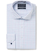Men's Euro Fit Shirt Navy Turquoise Check