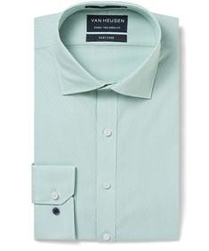 Men's Euro Fit Shirt Mint Mini Stripe