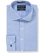 Euro Tailored Fit Shirt Blue Herringbone