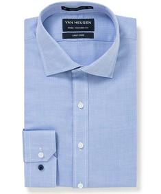 Euro Tailored Fit Shirt Blue Herringbone