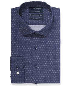 Euro Tailored Fit Shirt Deep Navy Dots