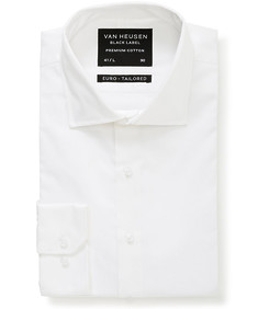 Black Label Euro Tailored Fit Shirt Sateen White