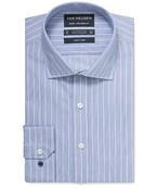 Euro Tailored Fit Shirt Navy White Stripe