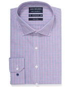 Euro Tailored Fit Shirt Red Blue Window Checks