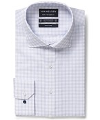 Euro Tailored Fit Shirt Double Line Window Check