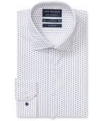 Euro Tailored Fit Shirt White Geometric Print
