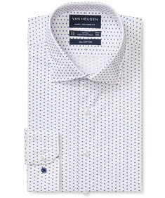 Euro Tailored Fit Shirt White Geometric Print
