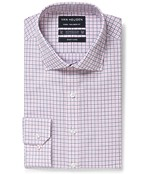 Euro Tailored Fit Shirt Pink Grey Graph Check