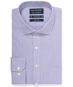 Euro Tailored Fit Shirt Purple Dobby Print
