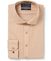 Euro Tailored Fit Shirt Tangerine Indigo Window Check