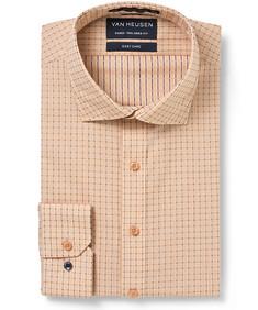 Men's Euro Fit Shirt Tangerine Indigo Window Check