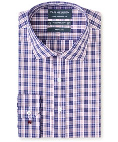 Euro Tailored Fit Shirt Royal Blue Plaid