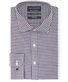 Euro Tailored Fit Shirt Red Navy Dobby Check
