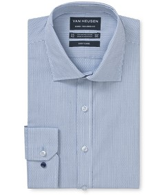 Euro Tailored Fit Shirt Blue Diamond Dobby Stripe