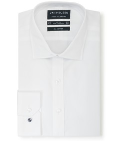 Euro Tailored Fit Shirt White Diamond Textured