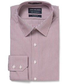 Euro Tailored Fit Shirt Red Vertical Stripe