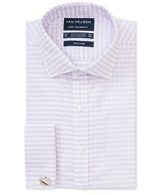 Euro Tailored Fit Shirt Dobby Check on White