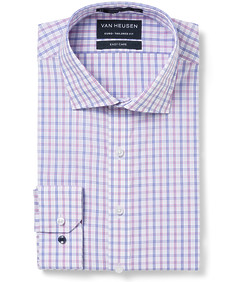 Euro Tailored Fit Shirt Red Blue Window Check