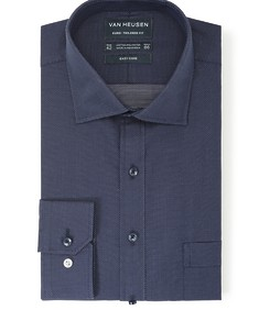 Euro Tailored Fit Shirt Navy Dobby Dots