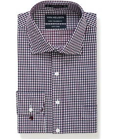 Euro Tailored Fit Shirt Navy Red Dobby Check
