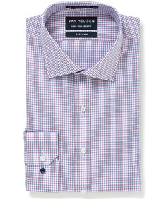 Euro Tailored Fit Shirt Blue Red Cross Check