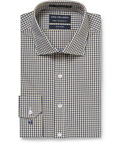 Euro Tailored Fit Shirt Yellow and Navy Check
