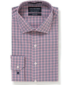 Euro Tailored Fit Shirt Red Tones Multi Check