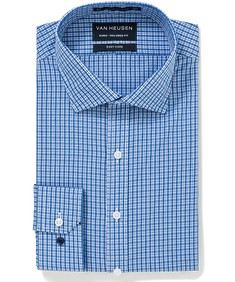 Euro Tailored Fit Shirt Blue Tones Cross Check