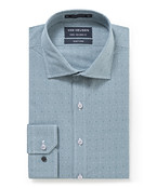 Euro Tailored Fit Shirt Teal Dobby Check