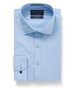 Euro Tailored Fit Shirt Sky Blue Diamond Check