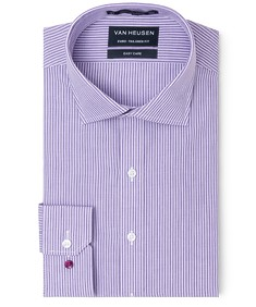 Euro Tailored Fit Shirt Purple White Vertical Stripe