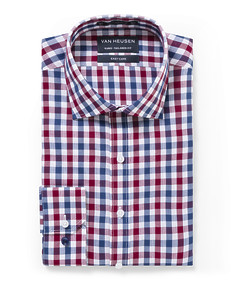 Euro Tailored Fit Shirt Ox and Navy Large Check