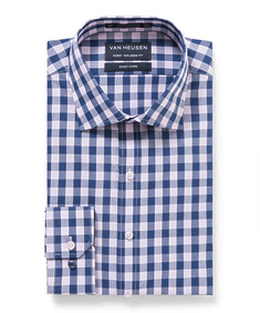 Euro Tailored Fit Shirt Pink and Navy Large Check