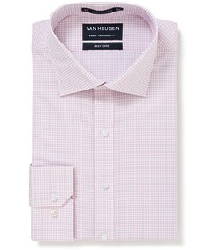 Euro Tailored Fit Shirt Navy and PinK Large Check
