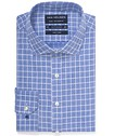 Euro Tailored Fit Shirt Navy Houndstooth Window Check